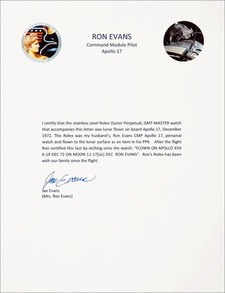 Rolex 1675 GMT ... Spatiale ! Ronald-Evans-Moon-Watch-Provenance