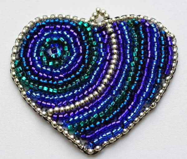 Bead Embroidered Heart No 2 PurpleGreenBlueEmbroideredHeart