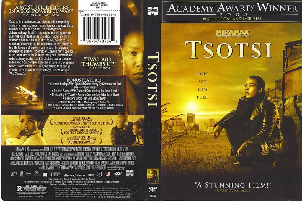 Tsotsi (South Africa, 2005) Winner of The Oscars Tsotsi-DVDcover