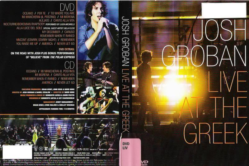 Josh Groban Live Concert @ the Greek DVD-Cover