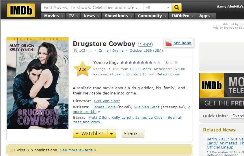Drugstore Cowboy (1989) Gus Van Sant DrugstoreCowboy-IMDB