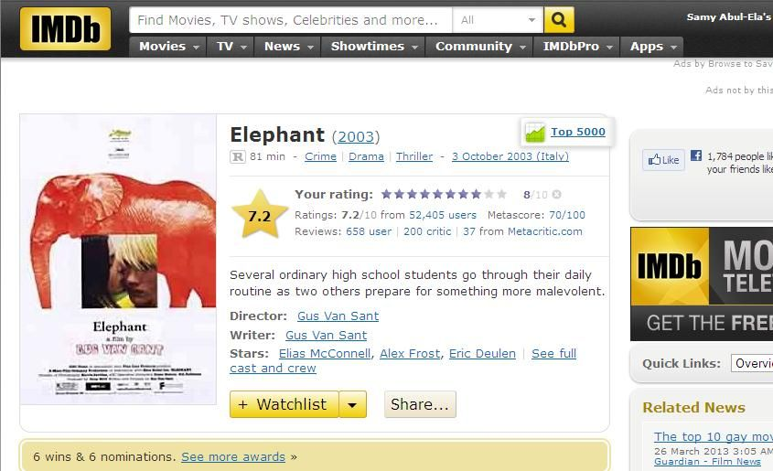 Elephant (2003) Gus Van Sant Elephant-IMDB