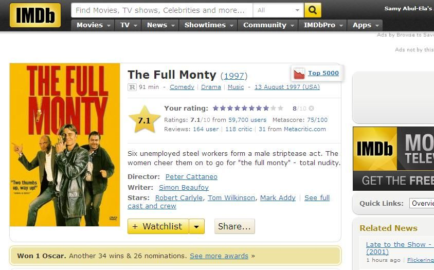 The Full Monty (1997)  the most succesful British comedy of 98 FullMonty-IMDB