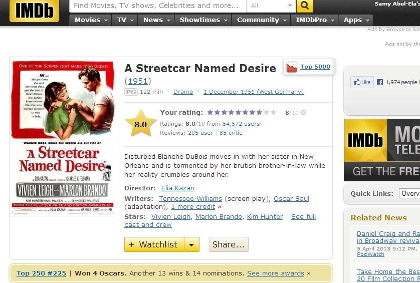 A Streetcar named Desire (1951) Elia Kazan Streetcar-IMDB