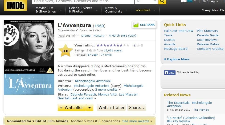 L'Avventura (a.k.a The Adventure) (1960) Michelangelo Antonioni IMDB-Adventure