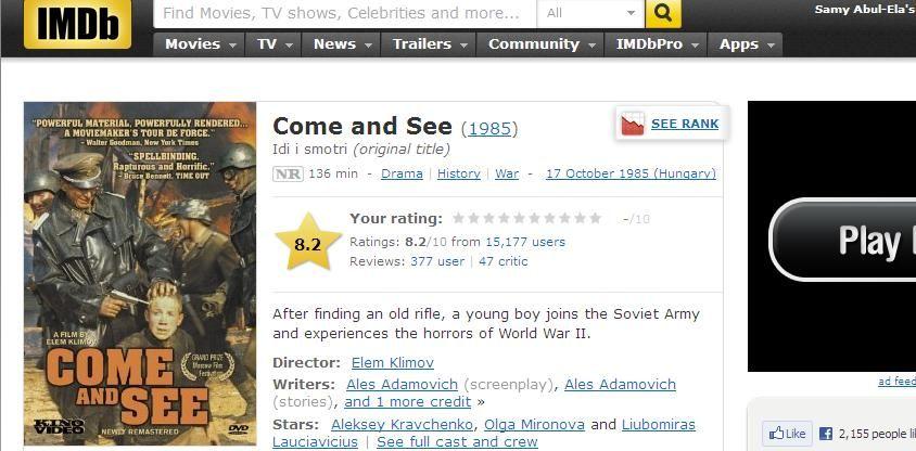 Idi I Smotri (1985) a.k.a Come & See IMDB-ComenSee