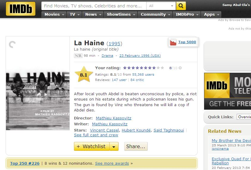 La Haine (1995) Mathieu Kassovitz LeHaine-IMDB