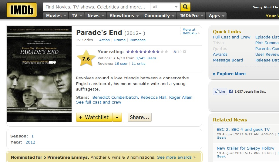 Parade's End (2012) BBC & HBO Production IMDB-ParadesEnd