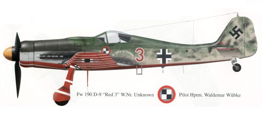 "Focke-Wulf Fw 190 D-9 ""Rot 3"" Papagei Staffel, HobbyBoss 1/72 Fw190D-93RojoWaldemarWbkeJV44may194"