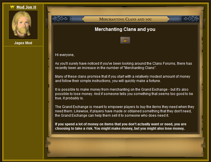 Jagex's Official Statement Regarding Merchant Clans 1