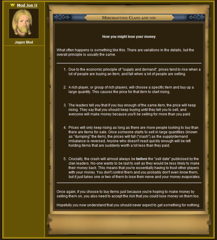 Jagex's Official Statement Regarding Merchant Clans 2