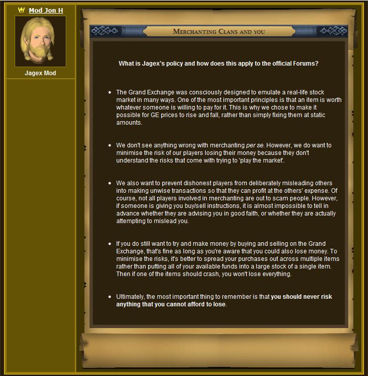 Jagex's Official Statement Regarding Merchant Clans 3
