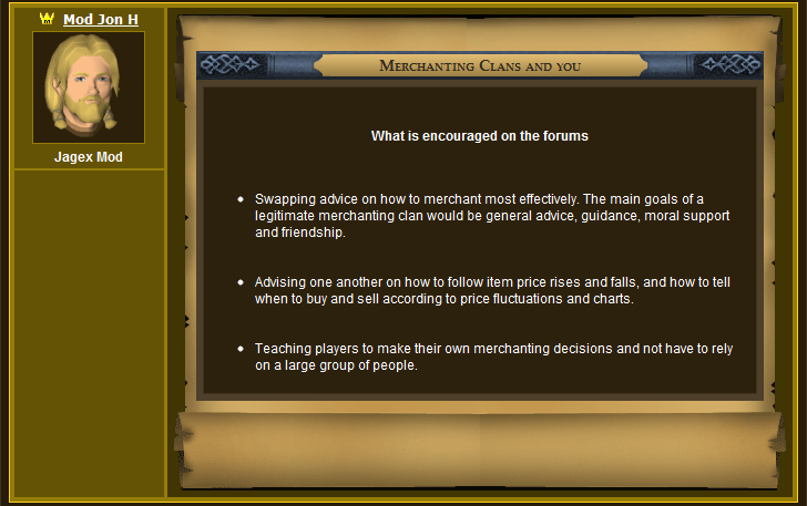 Jagex's Official Statement Regarding Merchant Clans 4
