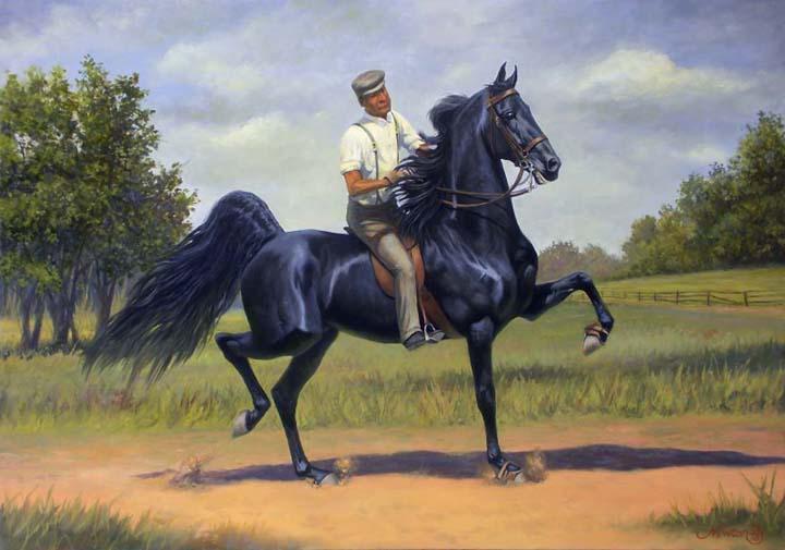 Equine Art - Page 2 TomBassridingRexMcDonaldPainting