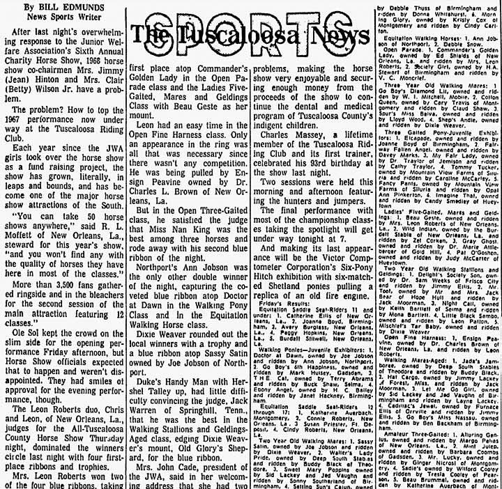 Trivia Archive 8 - Page 6 TuscaloosaHorseShow1967One