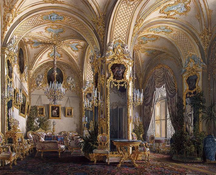Los palacios de los Romanovs DrawingRoominRococoIIStylewithCupid