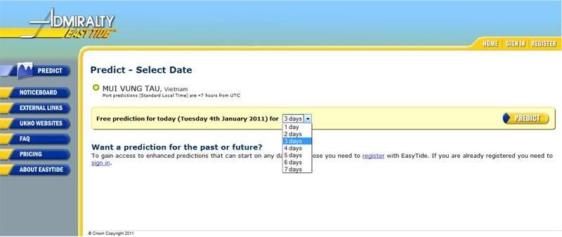 Admiralty Easy Tide - trang web giúp dự báo thủy triều trực tuyến AETide2
