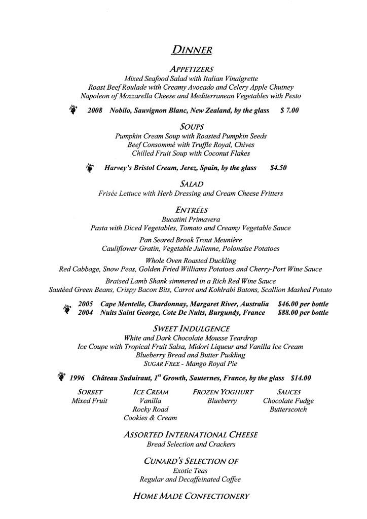 QE2 Restaurants Menus Dinner011108