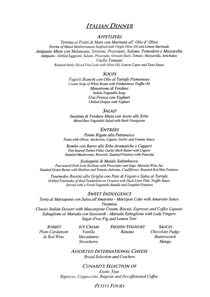 QE2 Restaurants Menus Dinner021108