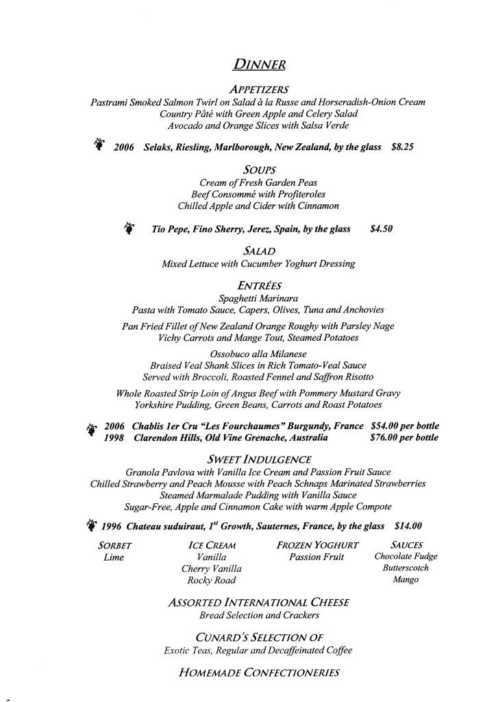QE2 Restaurants Menus Dinner051108