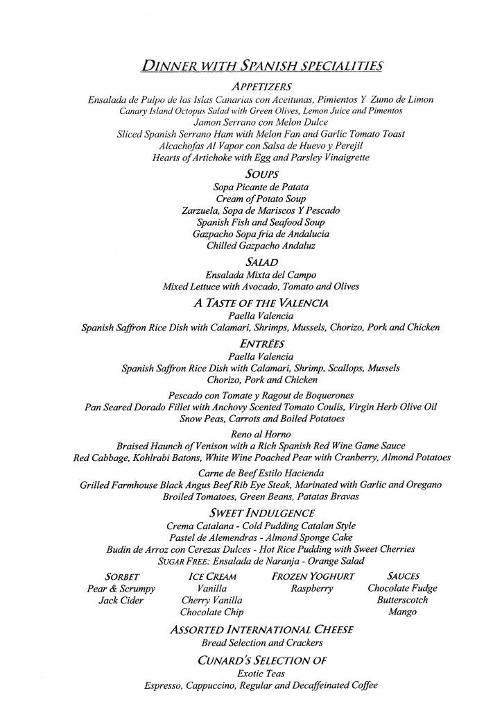 QE2 Restaurants Menus Dinner081108