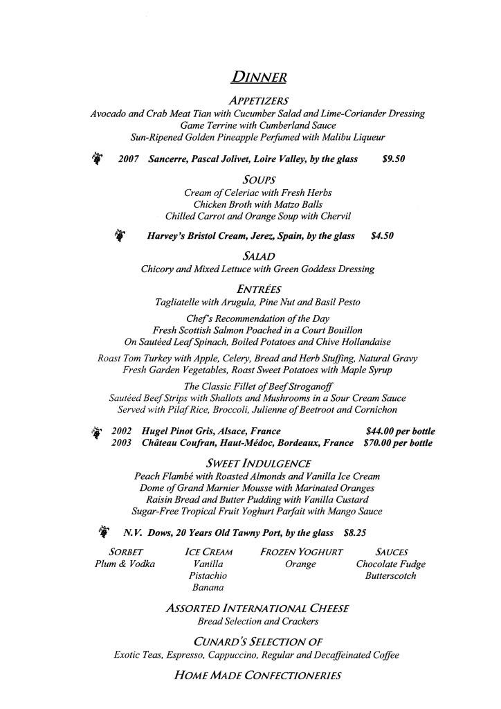 QE2 Restaurants Menus Dinner291008