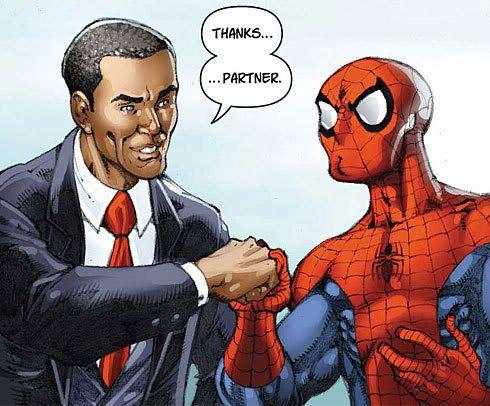 Barack Obama hace equipo con Spiderman 0173