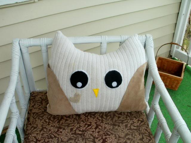 Upcycled Owl Pillow Owl
