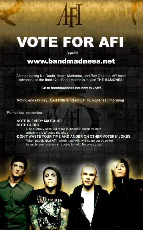 AFI on Bandmadness! AFIvote