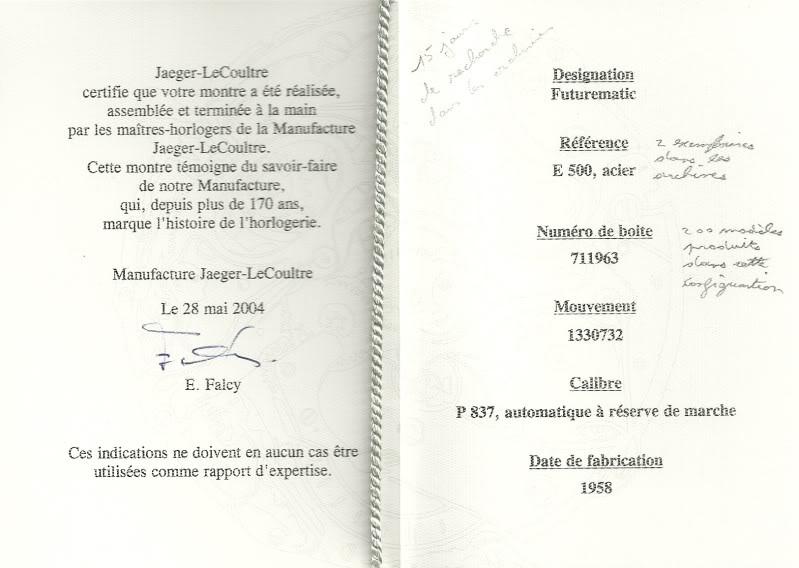 Jaeger - Jaeger LeCoultre Futurematic référence E500 CertificatdauthenticitFuturematic