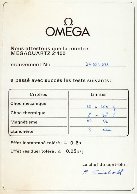 """Oméga Megaquartz 2400 """"Marine Chronometer"""" CertificationOmega"""