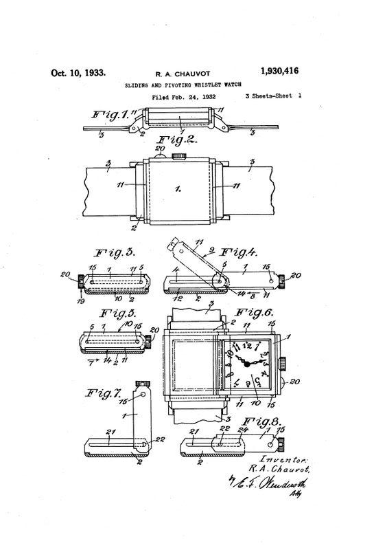 Hamilton Otis reverso + le brevet de René Alfred Chauvot USPAT1930416_1