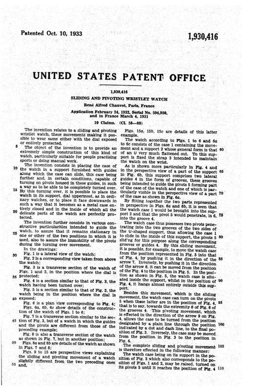 Hamilton Otis reverso + le brevet de René Alfred Chauvot USPAT1930416_4