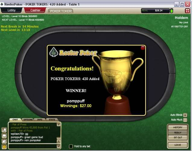 Reefer Win Pokertokers