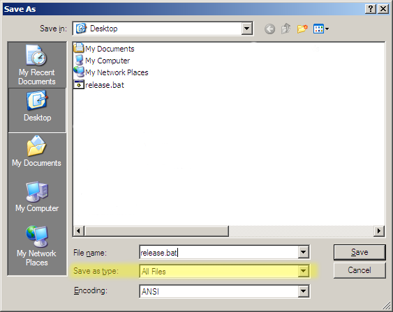 IPCONFIG Release/Renew Batch File Step2
