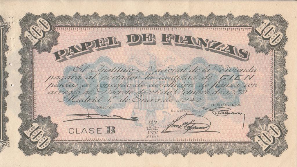 100 pesetas en papel de fianzas del Instituto Nacional de la Vivienda (1939) 100ptasfianza_zps3ba250eb