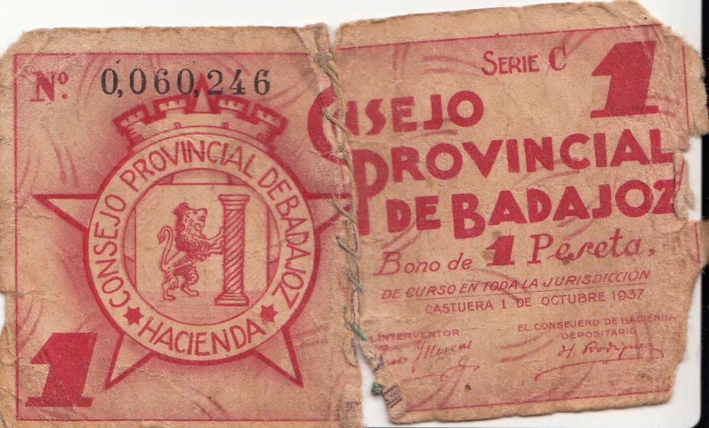 1 Peseta Consejo Provincial de Badajoz, 1937 Badajoz_0001_zps53846679