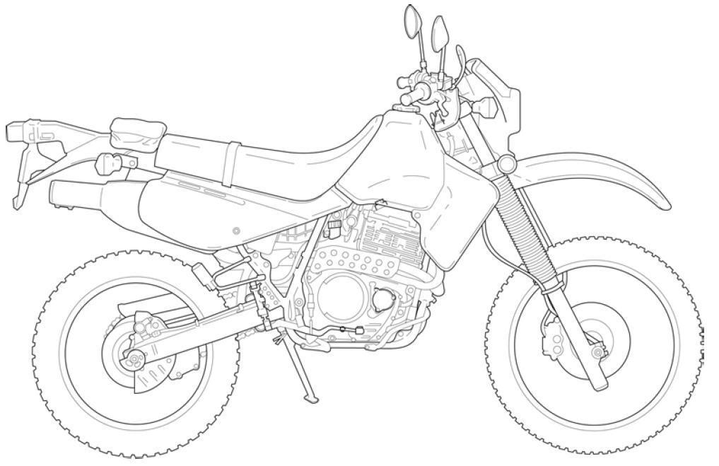 Motorcycle Line Art Xr650l-1