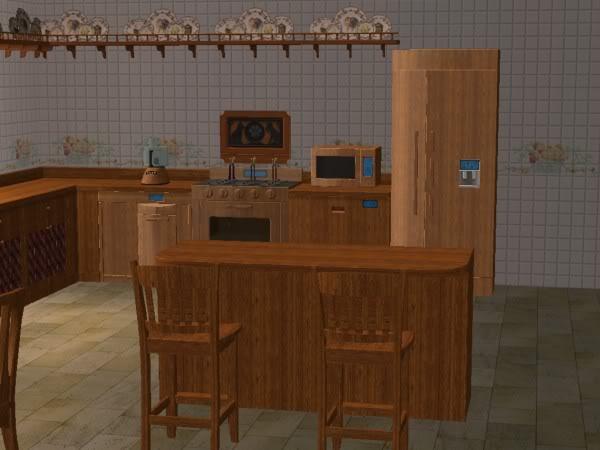 Cocina Hobbies Madera Oscura/Kitchen Free Time Dark Wood 3d