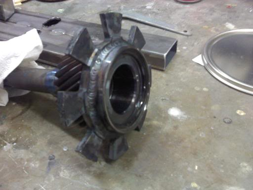 Stock Mustang 3650 fabricated into a face plated 3650 Trans40