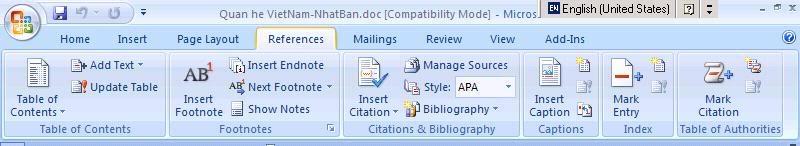 Tạo mục lục tự động trong Word 2007 2