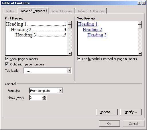 Tạo mục lục tự động trong Word 2007 9