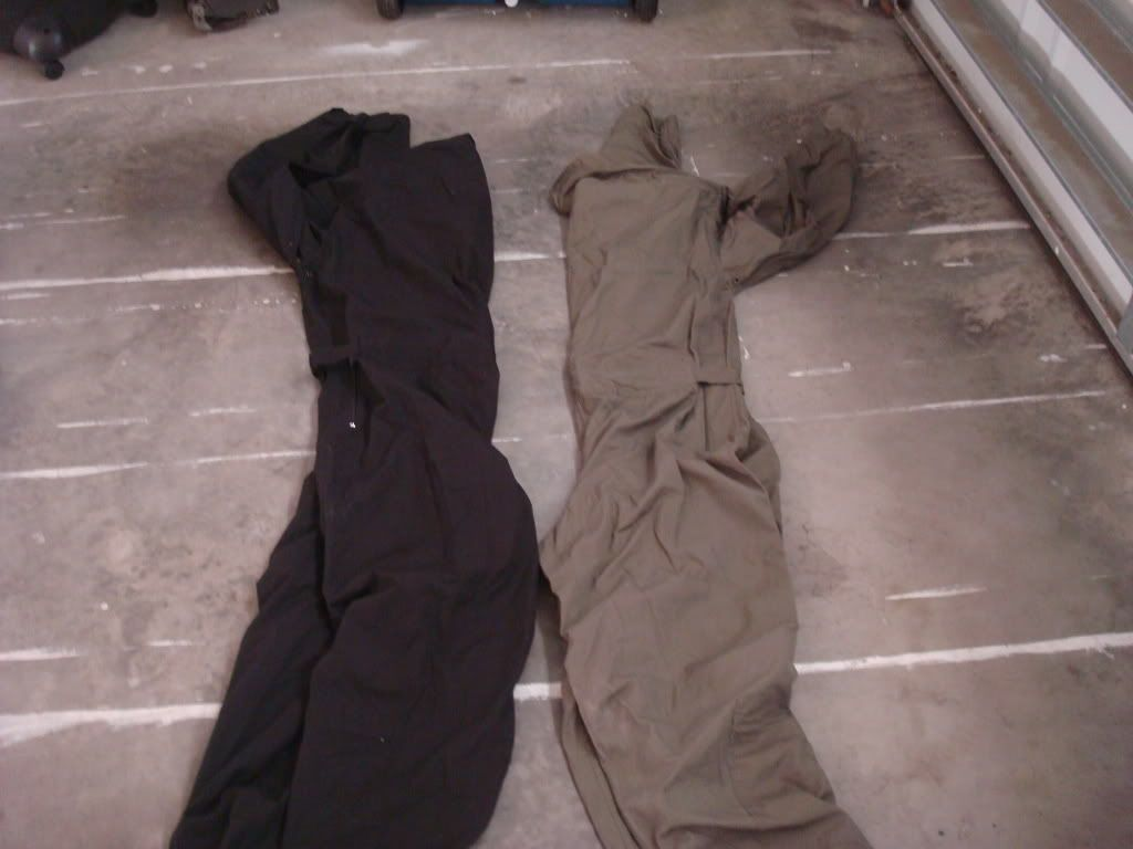black and green coveralls