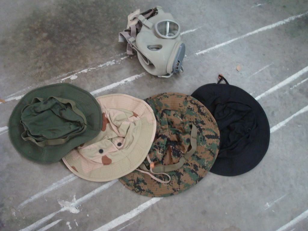 russian gas mask and boonie hats