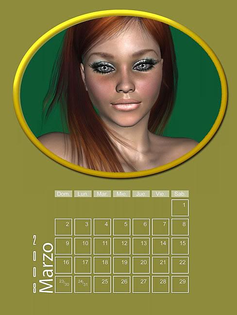 Calendario 2008 de 12 meses individuales 03-Mazo