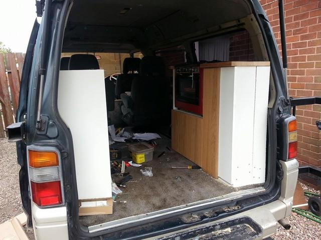 Mitsubishi L300 Delica start of kitchen fit out 11188212_1619219544960710_417490252651357002_n_zpsdo2n09wg