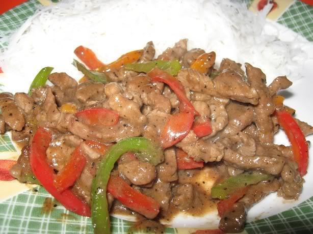 Lanières de boeuf sauce au poivre noir Boeufpoivrenoir