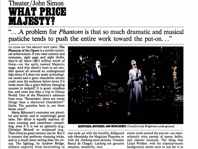 Original Reviews: London (1986); Broadway (1988) Simon1