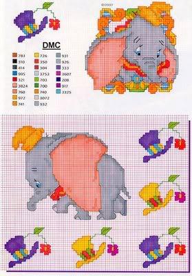 Esquemas infantis ponto cruz Dumbo