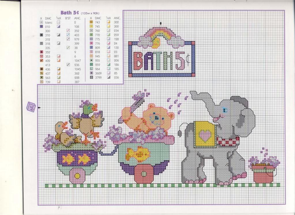 Esquemas infantis ponto cruz Elefantes